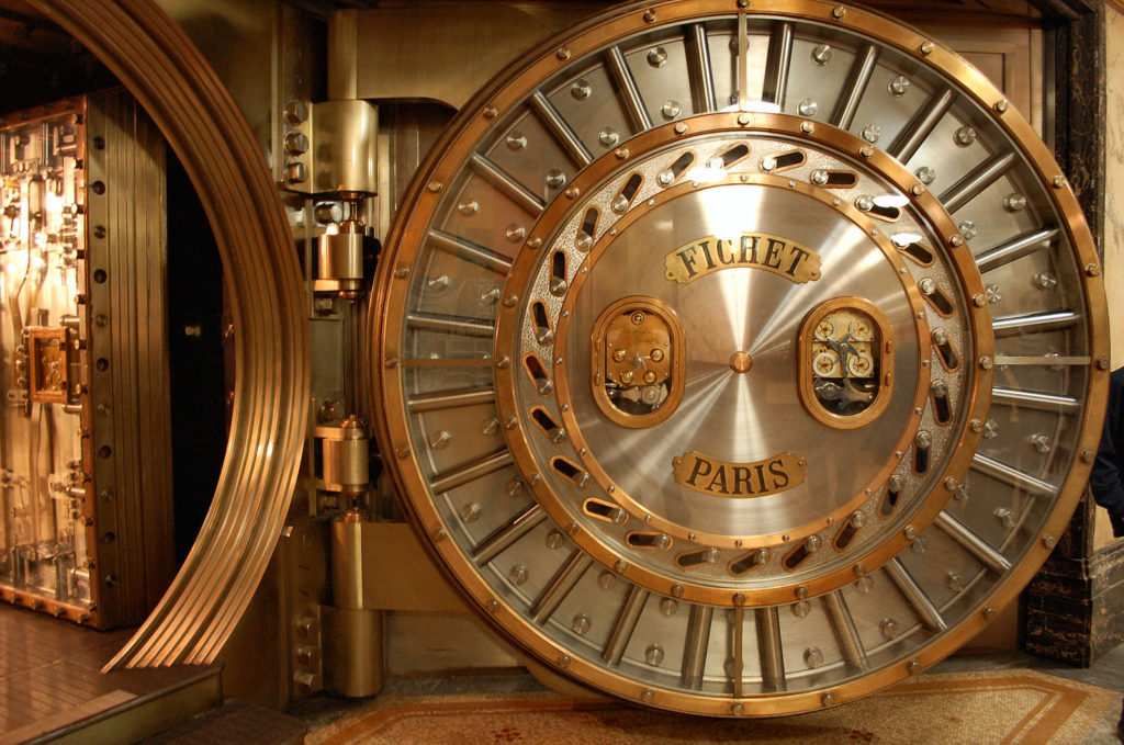 Photograph of a bank vault in Paris.