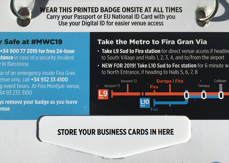 A detail view of the cards visit holder space in the back of the MWC19 visitor's badge
