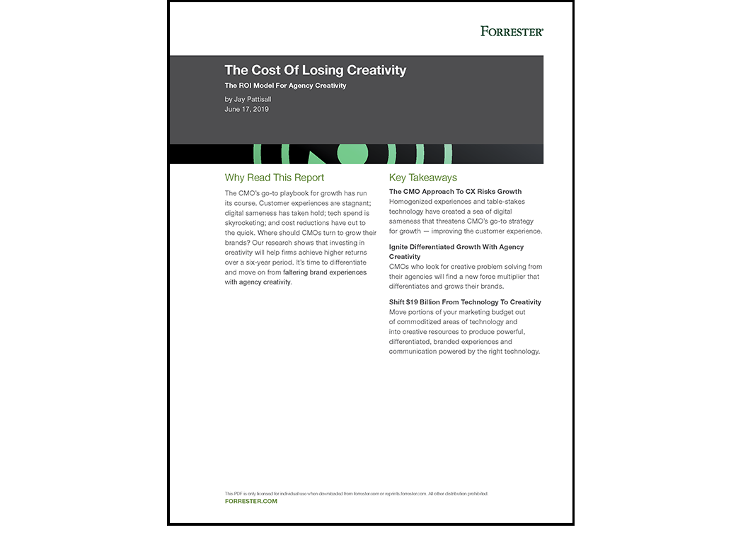 The Cost Of Losing Creativity · Forrester