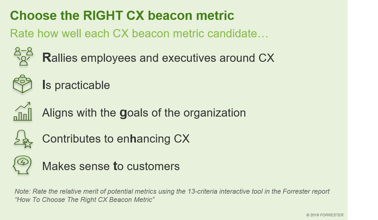 Your CX beacon metric must perform well on 13 criteria in 5 categories