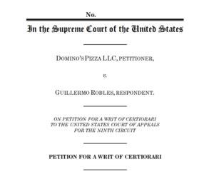 Cover page of Domino's petition to the Supreme Court