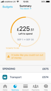 Monzo's safe to spend view