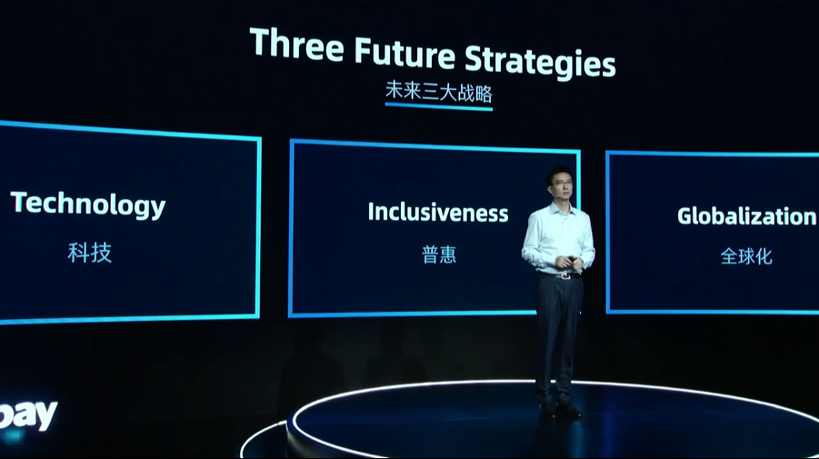 3 key words for Ant Group's strategy: technology, inclusiveness, and globalization. Ant foresees a future in building and operating platform business models