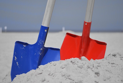 shovels in the sand