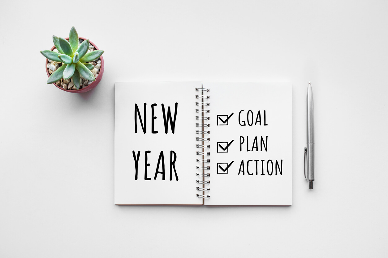 new year planning notebook with succulent
