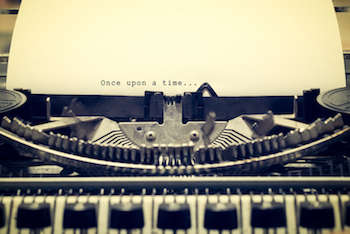 once upon a time written with old typewriter