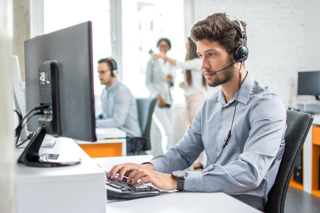 male sales rep on headset