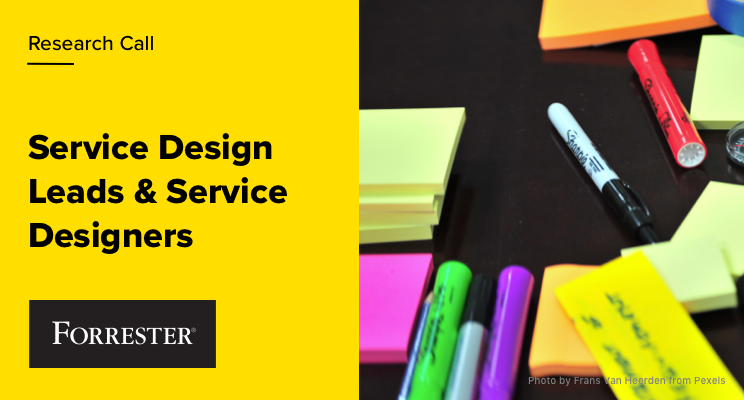 Sitcky notes and sharpies illustrating a call for service designers to participate in a research project