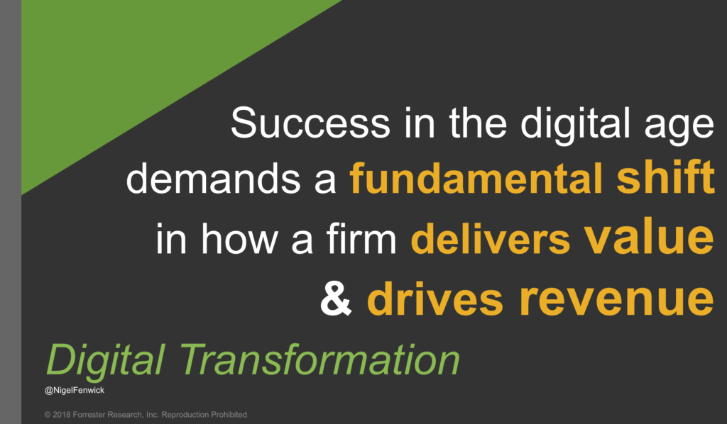 Digital Transformation: Success in the digital age demands a fundamental shift in how a firm delivers value and drives revenue
